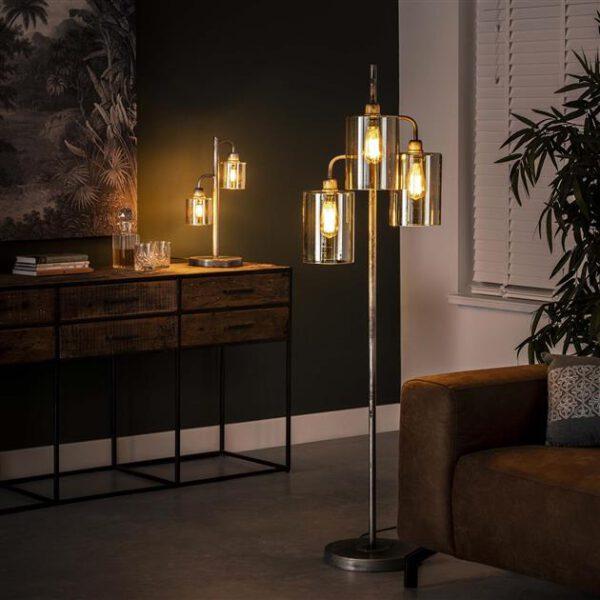 Vloerlamp 3L harbor amber glas / Oud zilver. Vloerlamp uit de vloerlampen collectie van Bullcraft kleinmeubelen & verlichting bij Löwik Meubelen