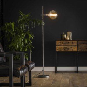 Vloerlamp 1L motion in hoogte verstelbaar / Oud zilver. Vloerlamp uit de vloerlampen collectie van Bullcraft kleinmeubelen & verlichting bij Löwik Meubelen