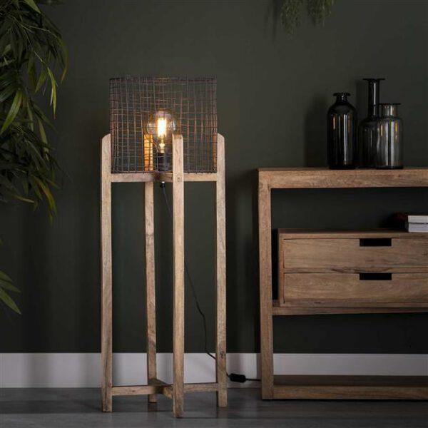 Vloerlamp mesh kap support - houten frame / Massief mango naturel. Vloerlamp uit de vloerlampen collectie van Bullcraft kleinmeubelen & verlichting bij Löwik Meubelen