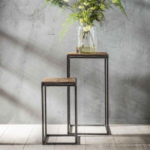Bloemenzuil set/2 50/70/Robuust hardhout. Bloemenzuil uit de bloemenzuilen collectie van Bullcraft kleinmeubelen & verlichting bij Löwik Meubelen