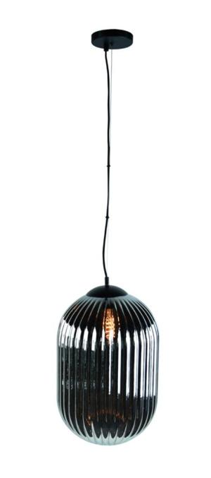Glam--M hanglamp 1x E27 smoke ribbel glas dia 30cm  / zwart - ETH verlichting - 05-HL4572-3036