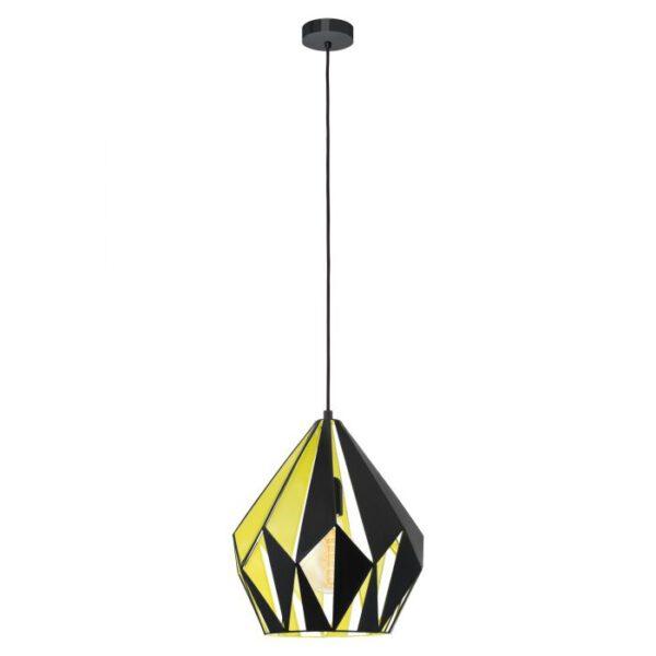 Carlton 1 hanglamp uit de hanglampen collectie van Eglo, verlichting voor een sfeervol thuis! Schitterende lamp vervaardigd uit metaal, zwart, geel van kleur en passend bij vele interieurstijlen. De hanglamp is voorzien van een E27 fitting. Hanglamp Carlton 1 wordt geleverd exclusief lichtbron(nen).