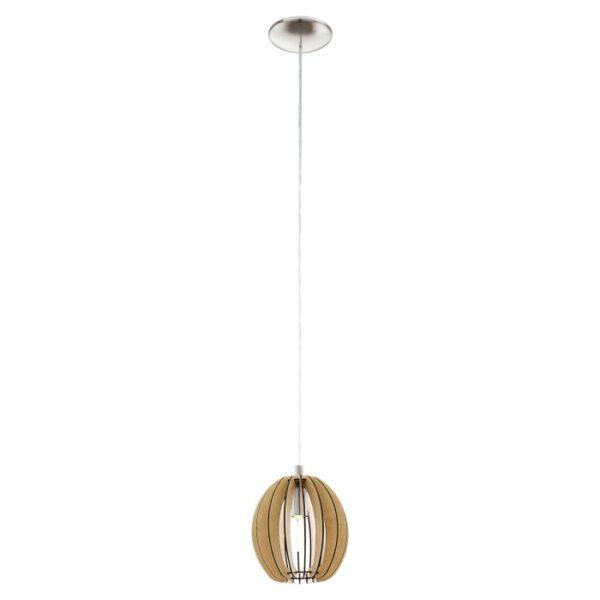 Cossano hanglamp uit de hanglampen collectie van Eglo, verlichting voor een sfeervol thuis! Schitterende lamp vervaardigd uit metaal, nikkel-mat van kleur en passend bij vele interieurstijlen. De hanglamp is voorzien van een E14 fitting. Hanglamp Cossano wordt geleverd exclusief lichtbron(nen).