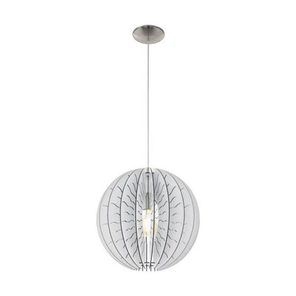Fabessa hanglamp uit de hanglampen collectie van Eglo, verlichting voor een sfeervol thuis! Schitterende lamp vervaardigd uit metaal, nikkel-mat van kleur en passend bij vele interieurstijlen. De hanglamp is voorzien van een E27 fitting. Hanglamp Fabessa wordt geleverd exclusief lichtbron(nen).