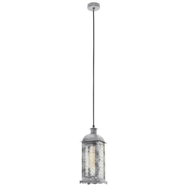 Lisburn 1 hanglamp uit de hanglampen collectie van Eglo, verlichting voor een sfeervol thuis! Schitterende lamp vervaardigd uit metaal, zilver-antiek van kleur en passend bij vele interieurstijlen. De hanglamp is voorzien van een E27 fitting. Hanglamp Lisburn 1 wordt geleverd exclusief lichtbron(nen).