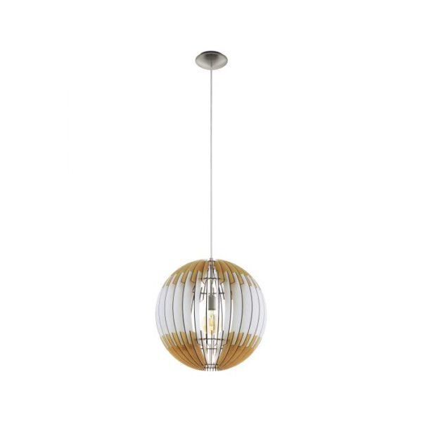 Olmero 1 hanglamp uit de hanglampen collectie van Eglo, verlichting voor een sfeervol thuis! Schitterende lamp vervaardigd uit metaal, nikkel-mat van kleur en passend bij vele interieurstijlen. De hanglamp is voorzien van een E27 fitting. Hanglamp Olmero 1 wordt geleverd exclusief lichtbron(nen).