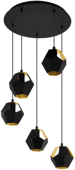 Rasigures hanglamp uit de hanglampen collectie van Eglo, verlichting voor een sfeervol thuis! Schitterende lamp vervaardigd uit metaal, zwart, goud van kleur en passend bij vele interieurstijlen. De hanglamp is voorzien van een E27 fitting. Hanglamp Rasigures wordt geleverd exclusief lichtbron(nen).