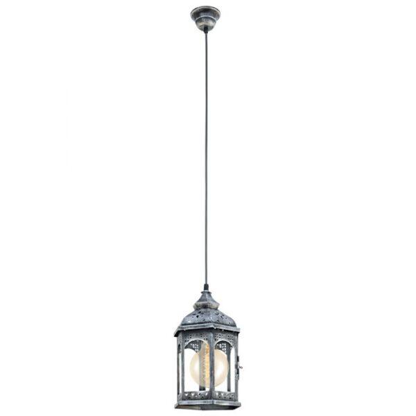 Redford 1 hanglamp uit de hanglampen collectie van Eglo, verlichting voor een sfeervol thuis! Schitterende lamp vervaardigd uit metaal, zilver-antiek van kleur en passend bij vele interieurstijlen. De hanglamp is voorzien van een E27 fitting. Hanglamp Redford 1 wordt geleverd exclusief lichtbron(nen).