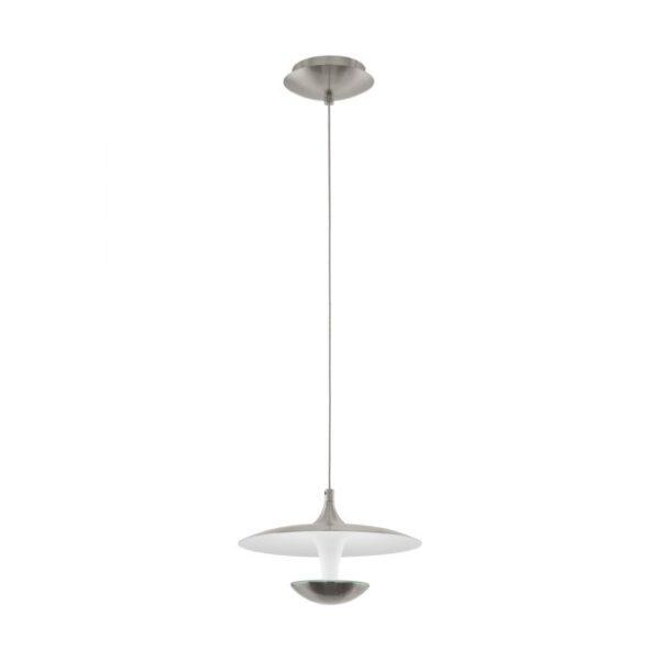 Toronja hanglamp uit de hanglampen collectie van Eglo, verlichting voor een sfeervol thuis! Schitterende lamp vervaardigd uit metaal, nikkel-mat, wit van kleur en passend bij vele interieurstijlen. De hanglamp is voorzien van een LED fitting. Hanglamp Toronja wordt geleverd inclusief lichtbron(nen).