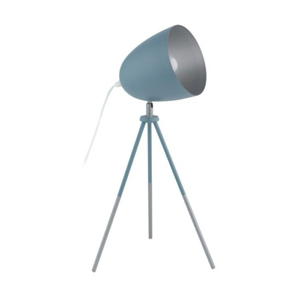 Chester-P tafellamp uit de tafellampen collectie van Eglo, verlichting voor een sfeervol thuis! Schitterende lamp vervaardigd uit metaal, pastel donkerblauw, zilver van kleur en passend bij vele interieurstijlen. De tafellamp is voorzien van een E27 fitting. Tafellamp Chester-P wordt geleverd exclusief lichtbron(nen).