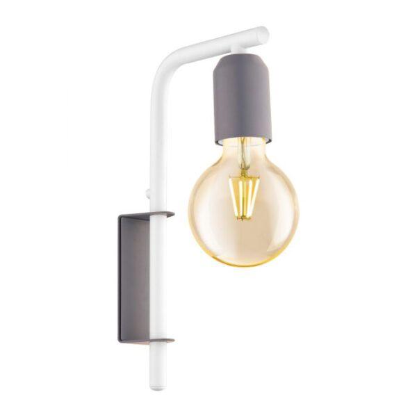 Adri-P wandlamp uit de wandlampen collectie van Eglo, verlichting voor een sfeervol thuis! Schitterende lamp vervaardigd uit metaal, pastel grijs, wit van kleur en passend bij vele interieurstijlen. De wandlamp is voorzien van een E27 fitting. Wandlamp Adri-P wordt geleverd exclusief lichtbron(nen).