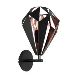 Carlton 1 wandlamp uit de wandlampen collectie van Eglo, verlichting voor een sfeervol thuis! Schitterende lamp vervaardigd uit metaal, zwart, koper van kleur en passend bij vele interieurstijlen. De wandlamp is voorzien van een E27 fitting. Wandlamp Carlton 1 wordt geleverd exclusief lichtbron(nen).