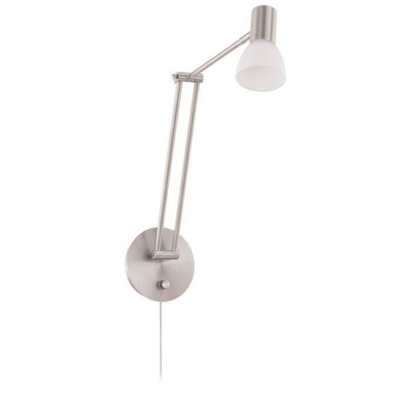 Falko 1 wandlamp uit de wandlampen collectie van Eglo, verlichting voor een sfeervol thuis! Schitterende lamp vervaardigd uit metaal, nikkel-mat van kleur en passend bij vele interieurstijlen. De wandlamp is voorzien van een LED fitting. Wandlamp Falko 1 wordt geleverd inclusief lichtbron(nen).