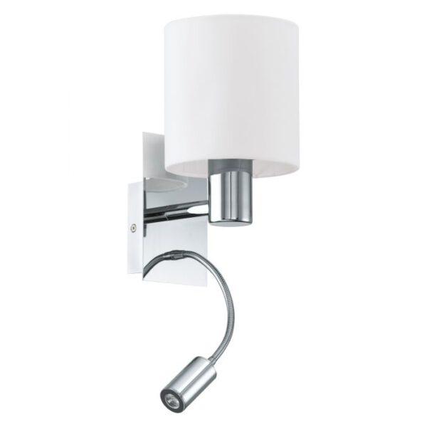 Halva wandlamp uit de wandlampen collectie van Eglo, verlichting voor een sfeervol thuis! Schitterende lamp vervaardigd uit metaal, chroom van kleur en passend bij vele interieurstijlen. De wandlamp is voorzien van een E27 fitting. Wandlamp Halva wordt geleverd exclusief lichtbron(nen).