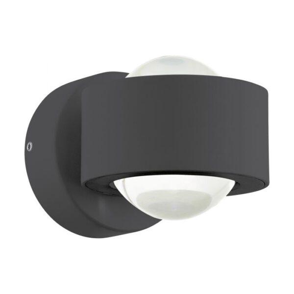 Ono 2 wandlamp uit de wandlampen collectie van Eglo, verlichting voor een sfeervol thuis! Schitterende lamp vervaardigd uit aluminium, antraciet van kleur en passend bij vele interieurstijlen. De wandlamp is voorzien van een LED fitting. Wandlamp Ono 2 wordt geleverd inclusief lichtbron(nen).