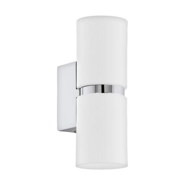 Passa wandlamp uit de wandlampen collectie van Eglo, verlichting voor een sfeervol thuis! Schitterende lamp vervaardigd uit metaal, chroom, wit van kleur en passend bij vele interieurstijlen. De wandlamp is voorzien van een GU10-LED fitting. Wandlamp Passa wordt geleverd inclusief lichtbron(nen).