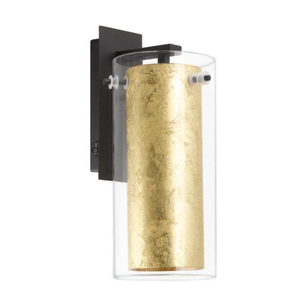 Pinto Gold wandlamp uit de wandlampen collectie van Eglo, verlichting voor een sfeervol thuis! Schitterende lamp vervaardigd uit metaal, zwart van kleur en passend bij vele interieurstijlen. De wandlamp is voorzien van een E27 fitting. Wandlamp Pinto Gold wordt geleverd exclusief lichtbron(nen).