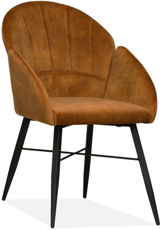 Pasco eetstoel modern retro design in velvet stof Goldy cognac - Maxfurn