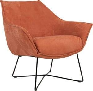 Egon fauteuil Furninova - nubuck leder terracotta