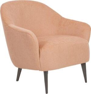 Paloma fauteuil uitgevoerd in stof Evita salmon - Furninova