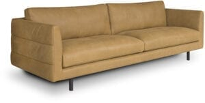 Diva 3,5-zitsbank in leder Africa mustard - Het Anker meubelen