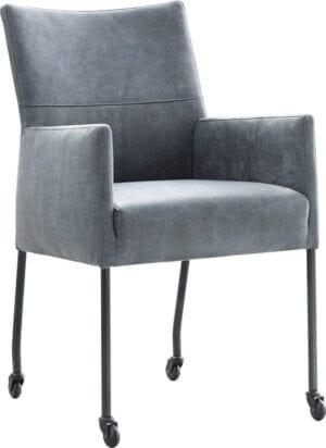 Lanny armstoel uit de IN.House stoelen collectie uitgevoerd in microleder Bora niagara (stiksel B) met zwart metalen poten op parketwieltjes. Keuze uit 3 stiksel voor de rugleuning. Keuze uit alle stoffen en kleuren uit de IN.House stof- en ledercollectie.
