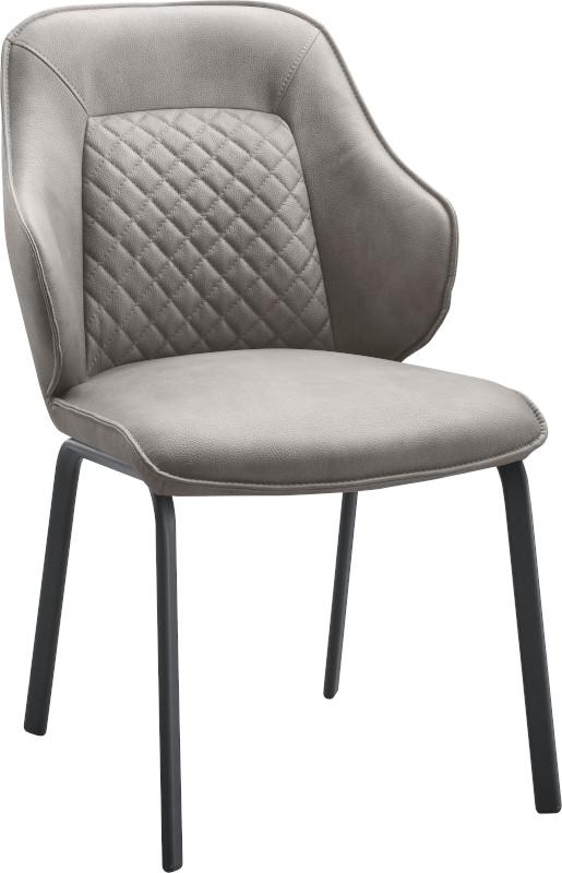 Eetstoel Alima uitgevoerd in de robuuste microvezelstof Pala lever met zwart metalen poten (rough off black) en handgreep op de rug. Uit onze IN.House stoelen collectie. Afmeting: (hxbxd) 089x054x060 cm