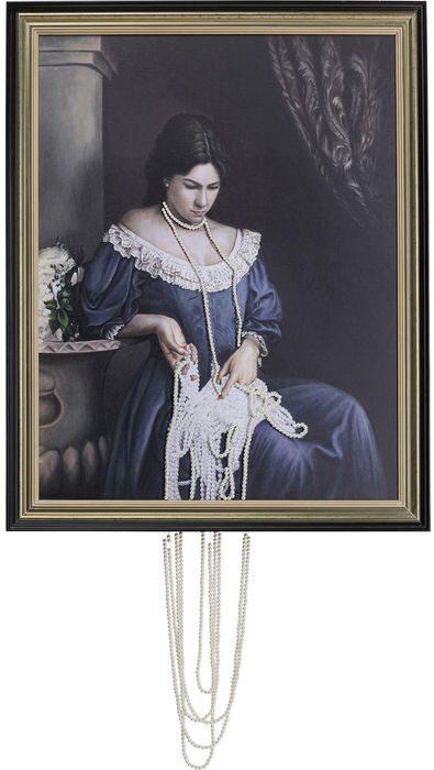 Kare Design Schilderij olieverf Lady Pearls - 100x80 schilderij 52636 - Lowik Meubelen