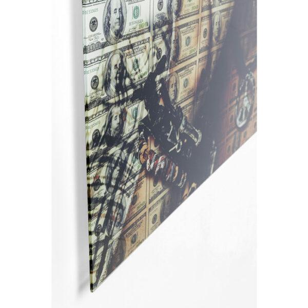 Kare Design Schilderij op glas Banknotes - 100x100 schilderij 52586 - Lowik Meubelen
