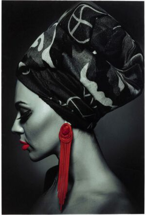 Kare Design Schilderij op glas Lady Red Earring - 80x120 schilderij 52554 - Lowik Meubelen