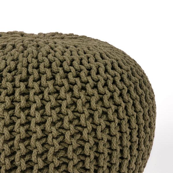 Poef Knitted - Army green - Katoen - L uit de Knitted collectie van Label51 - Löwik Meubelen