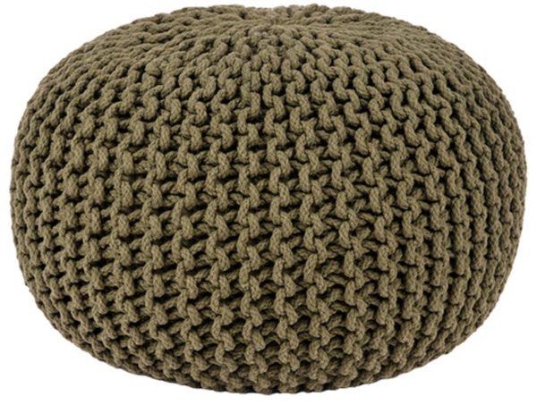 Poef Knitted - Army green - Katoen - M uit de Knitted collectie van Label51 - Löwik Meubelen