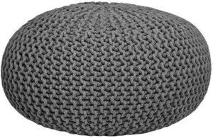 Poef Knitted - Donkergrijs - Katoen - L uit de Knitted collectie van Label51 - Löwik Meubelen