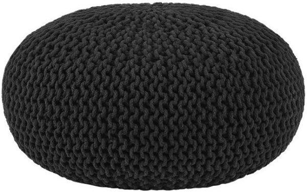 Poef Knitted - Zwart - Katoen - L uit de Knitted collectie van Label51 - Löwik Meubelen