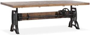Turn eettafel in hoogtre verstelbaar naar bartafel - mangohout met onderstel gun metal - Maxfurn