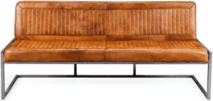 Cadira eetkamerbank in buffel leder cognac, met envelope stiksel