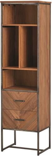 Venice boekenkast - 2 lades en 4 open vakken uit de Nijwie collectie - Teakhout