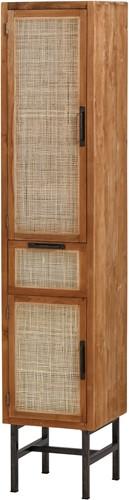 Webbing boekenkast natural - 2 deuren en 1 lade uit de MySons collectie - Teakhout - Nijwie