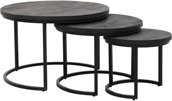 Enzo salontafel black - set/3, is een stoere maar uiterst stijlvolle salontafelset vervaardigd uit hout i.c.m. met metaal. Het zwarte metaal in combinatie met het fraaie zwarte blad geeft het geheel niet enkel een industrieel karakter maar ook een moderne uitstraling. Afmeting: (hxbxd) 48 x 75 x 75 / 40 x 60 x 60 / 36 x 43 x 43 cm.