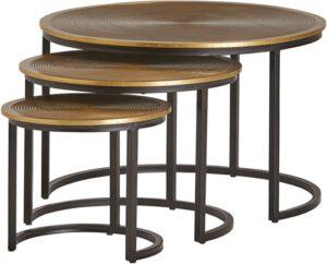 Ringo salontafel Ringo goud rond - set/3 uit de MySons collectie - Metaal - Nijwie