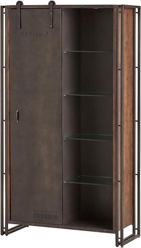 Estilo 7 vitrinekast - 1 schuifdeur en 2 laden uit de Nijwie collectie - Mangohout