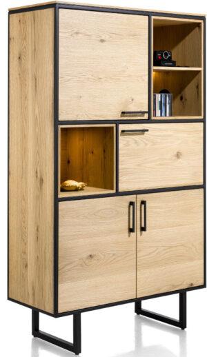 Belo bergkast 100 cm - 4-deuren + 3-niches (+ LED) eiken beach naturel fineer