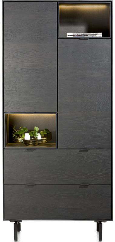 Elements bergkast 90 cm. - 2-deuren + 2-laden + 2-niches + led Onyx eiken fineer onyx