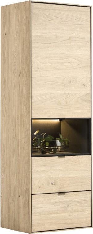 Elements bergkast smal - 60 cm. - 1-deur + 2-laden + 1-niche + led Natural eiken fineer naturel