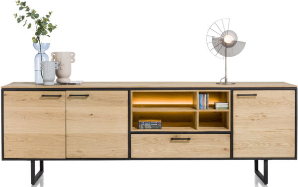 Belo dressoir 240 cm - 3-deuren + 1-lade + 4-niches (+ LED) eiken beach naturel fineer