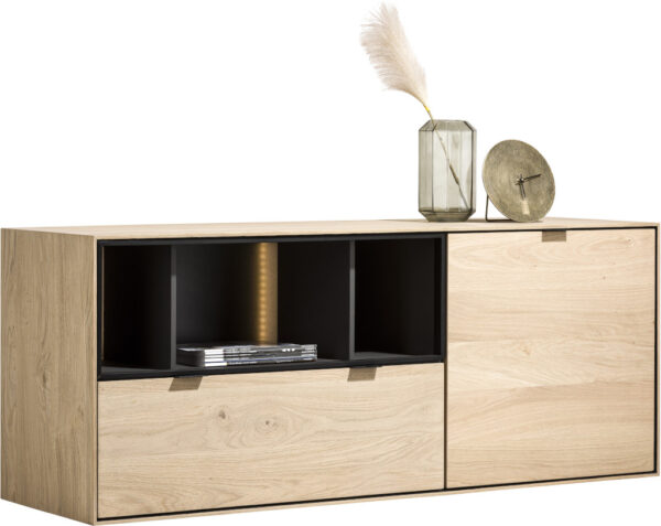 Elements dressoir 150 cm. - 1-deur + 1-lade + 3-niches + led Natural eiken fineer naturel
