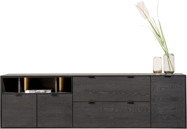 Elements dressoir 210 cm. - 3-deuren + 2-laden + 3-niches + led Onyx eiken fineer onyx