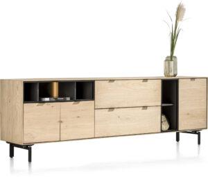 Elements dressoir 240 cm. - 3-deuren + 2-laden + 5-niches + led Natural eiken fineer naturel
