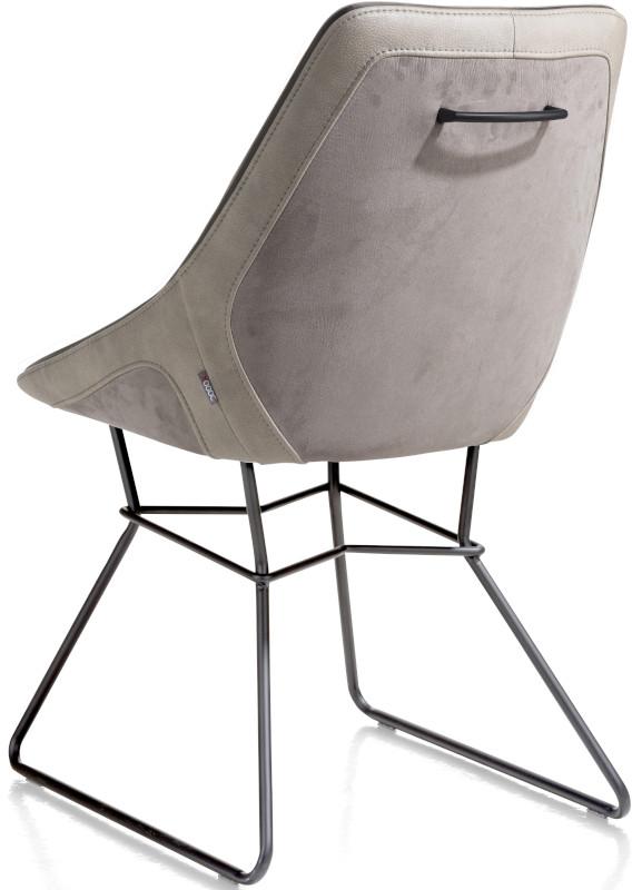 Arwen eetkamerstoel zwart frame draadstaal + combi stof Savannah / Pala Charcoal multiplex met polyether