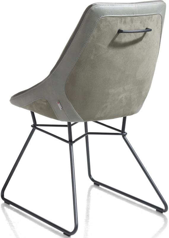 Arwen eetkamerstoel zwart frame draadstaal + combi stof Savannah / Pala Groen multiplex met polyetherc